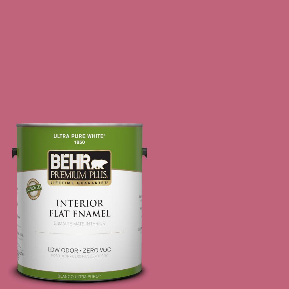 BEHR Premium Plus 1-gal. #120D-4 Mulberry Zero VOC Flat Enamel Interior Paint-DISCONTINUED