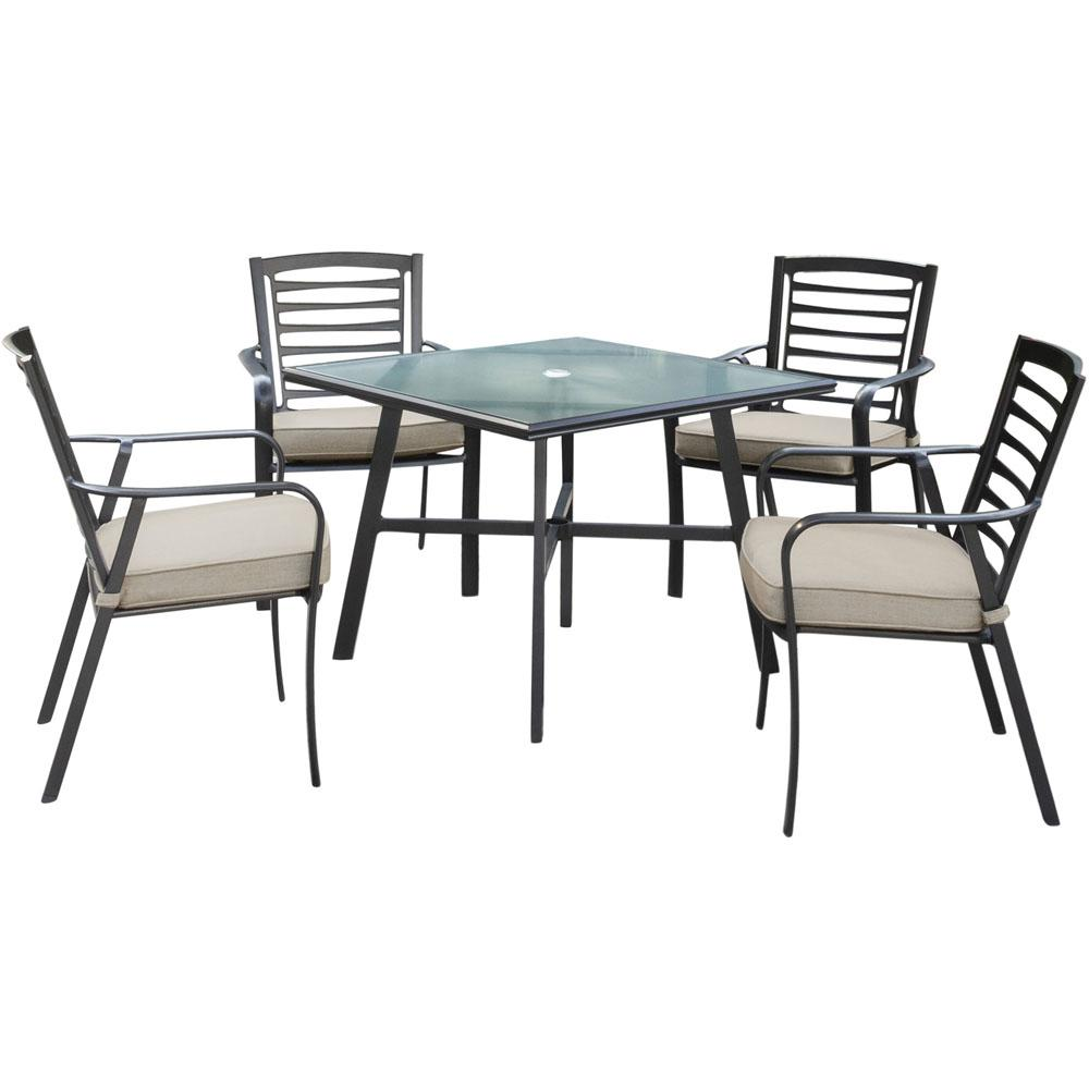 Hanover Pemberton 5-Piece Commercial-Grade Aluminum Outdoor Bistro Set with  Ash Cushions, 4-Dining Chairs and Glass-Top Table