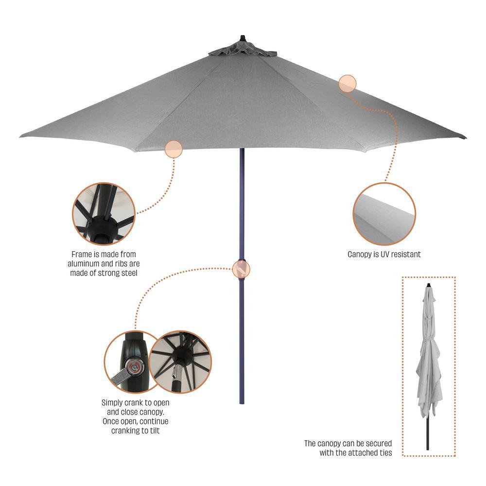 6 Cafe Stoelen.Hampton Bay 10 Ft Aluminum Market Patio Umbrella In Cushionguard