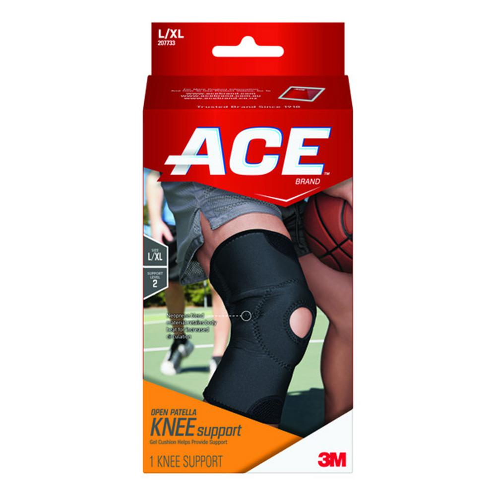 Ace Large Extra Large Open Patella Knee Support Brace In Black