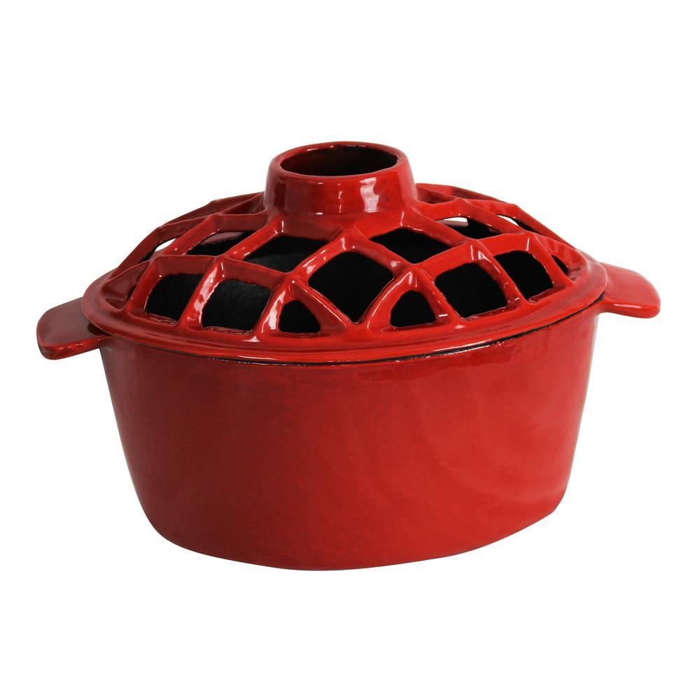 2.2 qt. Lattice Steamer Red Enameled Porcelain
