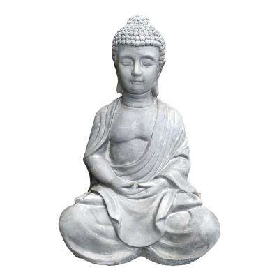 15.7 in. H Light Grey Lightweight Concrete Happy Buddha Statues