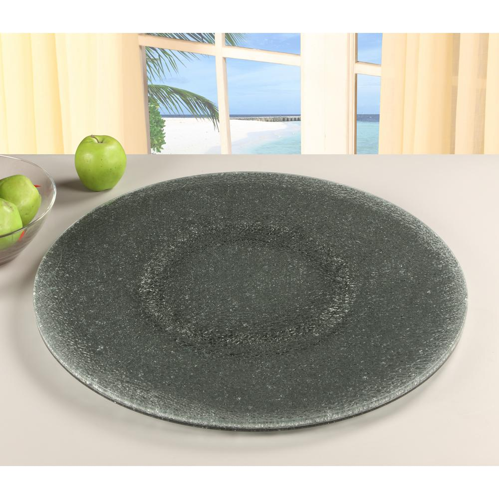 24 in. Gray Lazy Susan Sandwich Glass