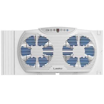 """Twin 9"""" Wide Electrically Reversible Window Fans  with Bluetooth Technology"""