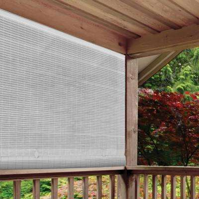 White Cordless Light Filtering UV Protection PVC Manual Roll-Up Sun Shade 36 in. W x 72 in. L