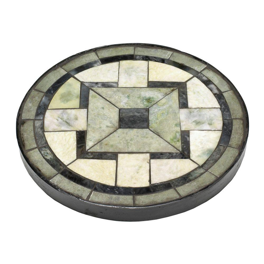 null 12 in. Round Tiffany Jade Mission Garden Stone