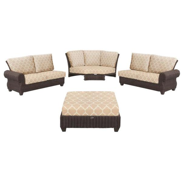 Mill Valley 4-Piece Brown Wicker Outdoor Patio Sectional Sofa Set with CushionGuard Toffee Trellis Tan Cushions