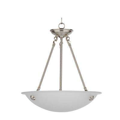 3-Light Satin Steel Chandelier with Etched Acid Wash Glass Shade