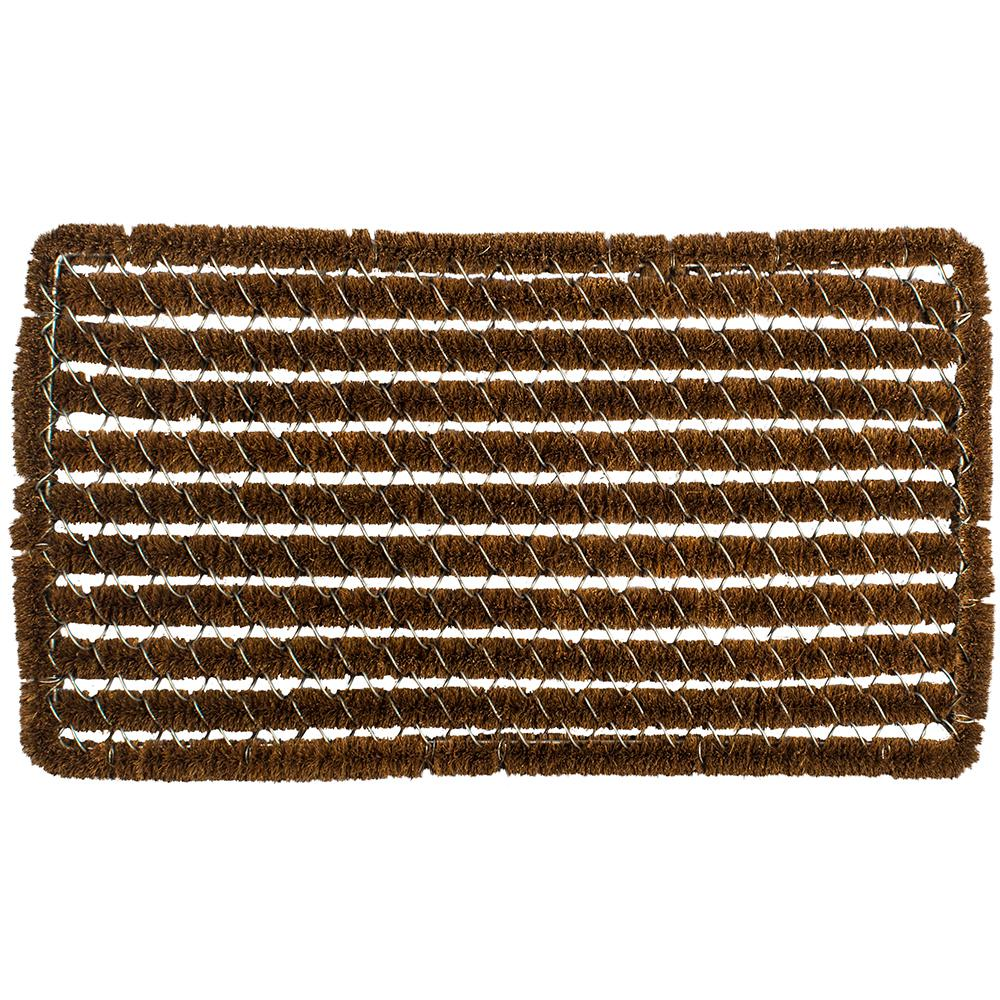 Entryways Rectangle Stripes 16 In. X 27 In. Wire Brush Coir Door Mat