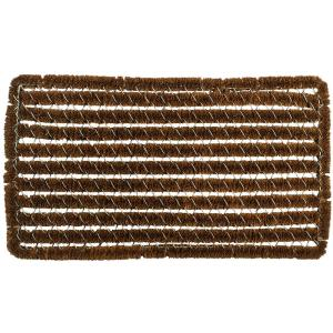 Entryways Rectangle Stripes 16 inch x 27 inch Wire Brush Coir Door Mat by Entryways