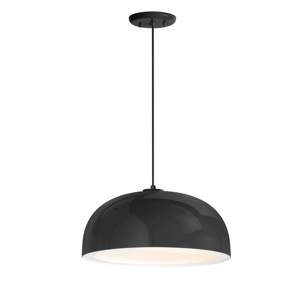 Troy rlm dome 16 in shade 1 light black finish pendant