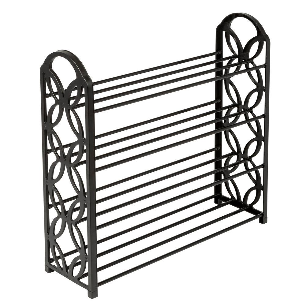 23.62 in. H x 24.6 in. W 16-Pair 4-Shelf Black Steel and Plastic Lightweight Shoe Rack