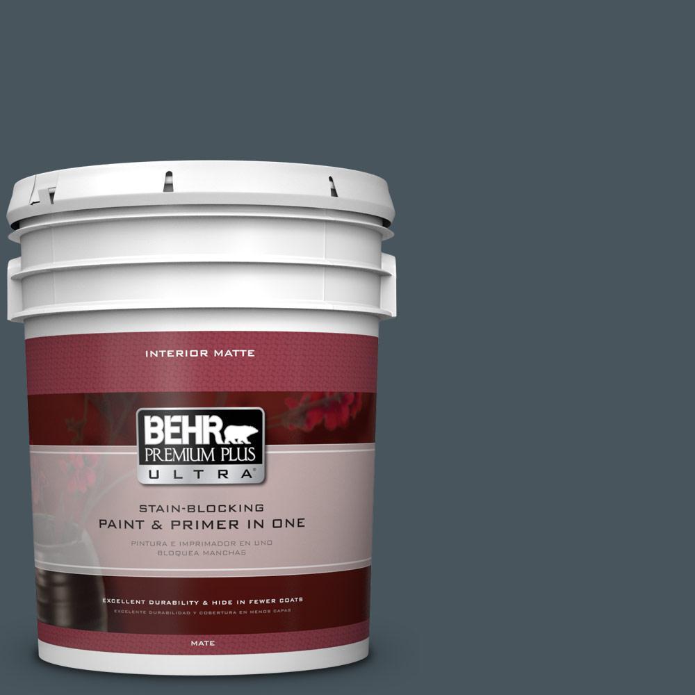 5 gal. #BNC-40 Moody Black Matte Interior Paint