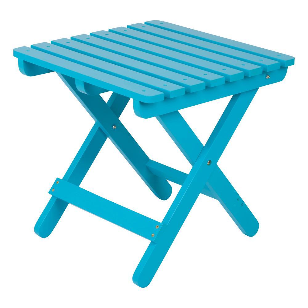 Adirondack Turquoise Square Wood Folding Table