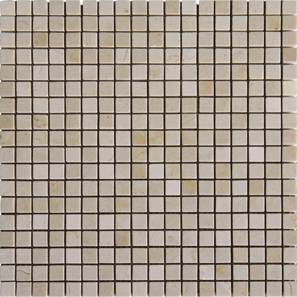 MS International Crema Marfil 12 in. x 12 in. x 10 mm Polished Marble Mesh-Mounted Mosaic Tile (10 sq. ft. / case)