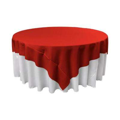 72 in. x 72 in. Red Polyester Poplin Square Tablecloth