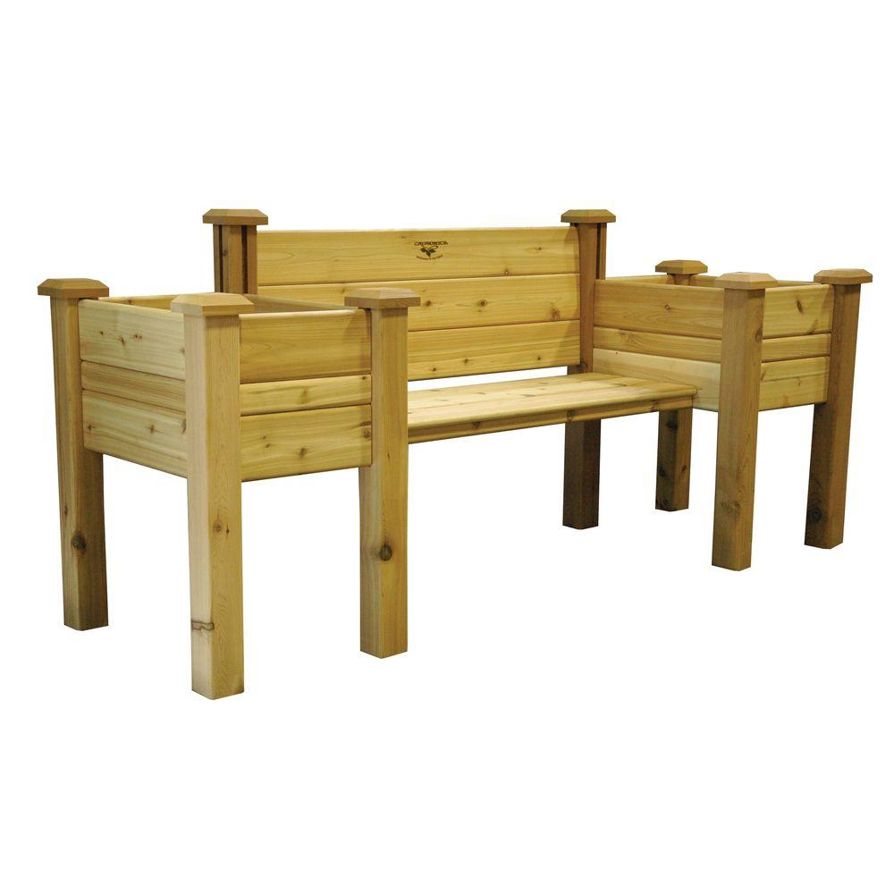 Gronomics 82 In X 24 In Unfinished Cedar Bench Planter Epb 24 82 The Home Depot