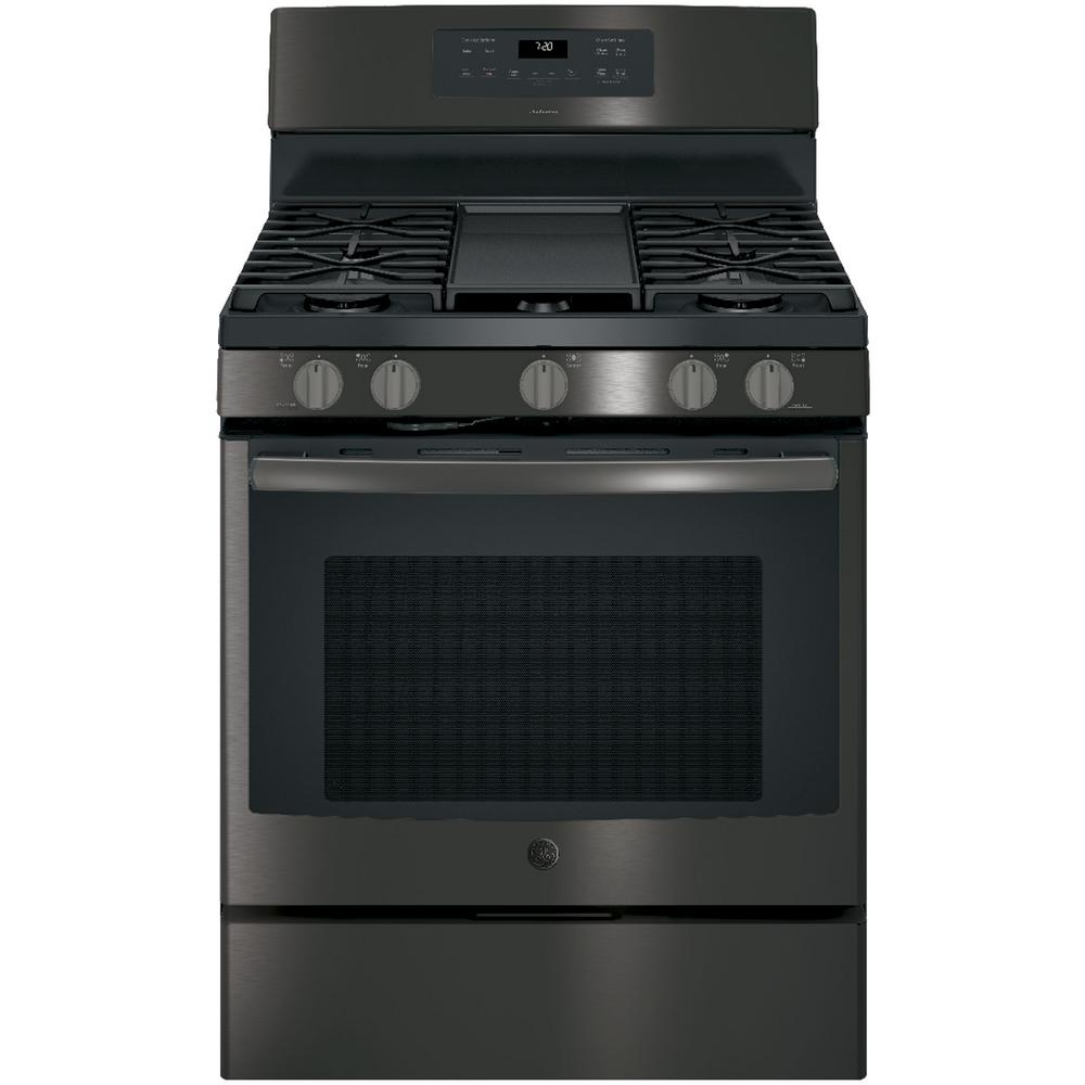 ge adora 5 0 free standing gas range w self cleaning convection oven in black stainless. Black Bedroom Furniture Sets. Home Design Ideas