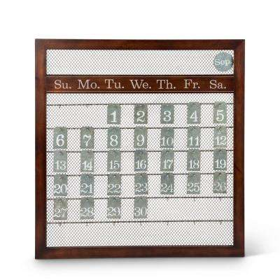 23 in. x 25 in. Brown Wood and Metal Perpetual Calendar