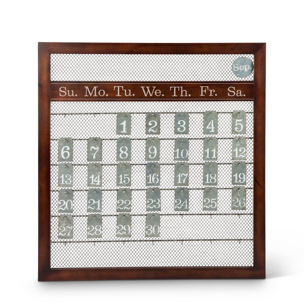 23 in. x 25 in. Brown Wood and Metal Perpetual Calendar