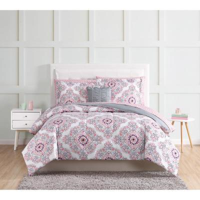 Shirley 12-Piece Pink Queen Bed in a Bag Set