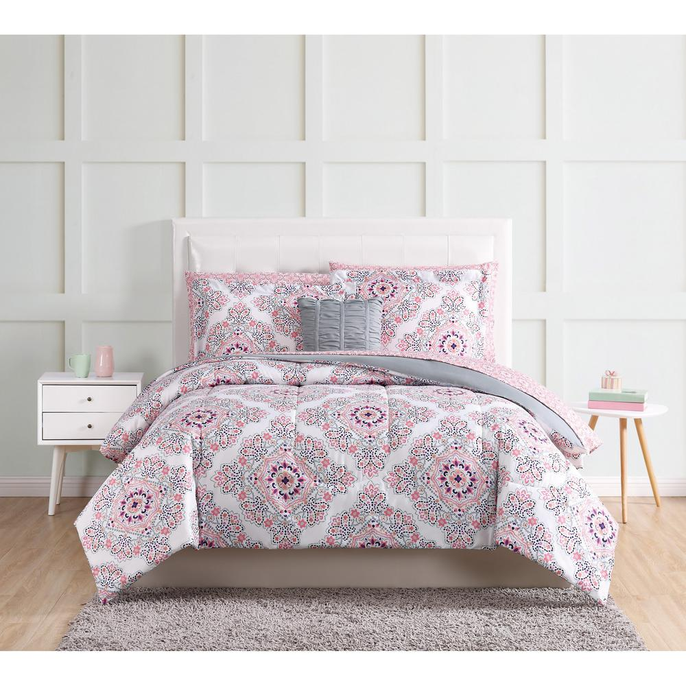 Shirley 9-Piece Pink Twin Bed in a Bag Set