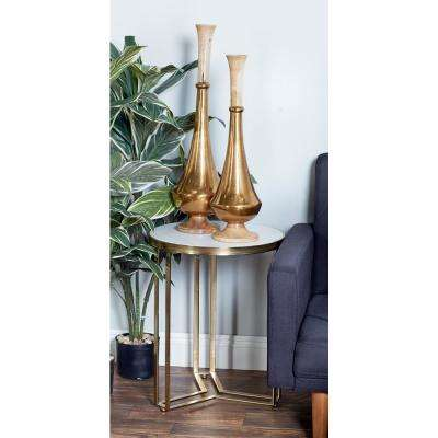 White Round Accent Table with Gold Frame