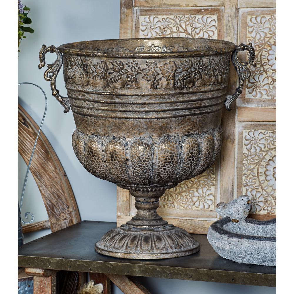 Tarnished Brass Iron Pedestal Goblet Planter