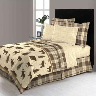David Reversible 6-Piece Brown Plaid Twin Bed in a Bag Set