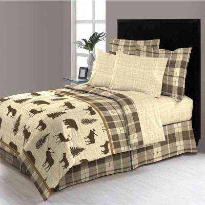 MHF David Reversible 8-piece Brown Plaid Bed-in-a-Bag