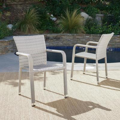 Dover Chateau Grey Stackable Aluminum Outdoor Dining Chair (2-Pack)