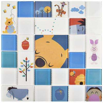 Pooh and Friends Blue 11-3/4 in. x 11-3/4 in. x 5 mm Glass Mosaic Tile
