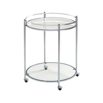 Veranda Round 24 in. Modern 2-Tier Metal and Glass 4-Wheeled Bath Utility/Bar Storage Cart in Chrome Finish