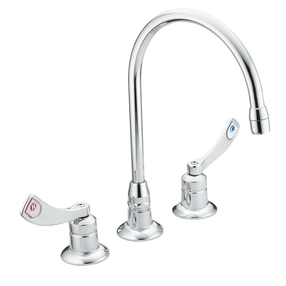 MOEN M-Dura 8 in. Widespread 2-Handle High-Arc Bathroom Faucet in ...