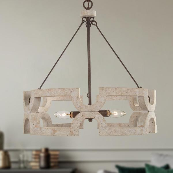 Jolla II 3-Light Rustic White Dining Room Chandelier Solid Wood Cage Wagon Wheel Drum Pendant with Weathered Dot Accents