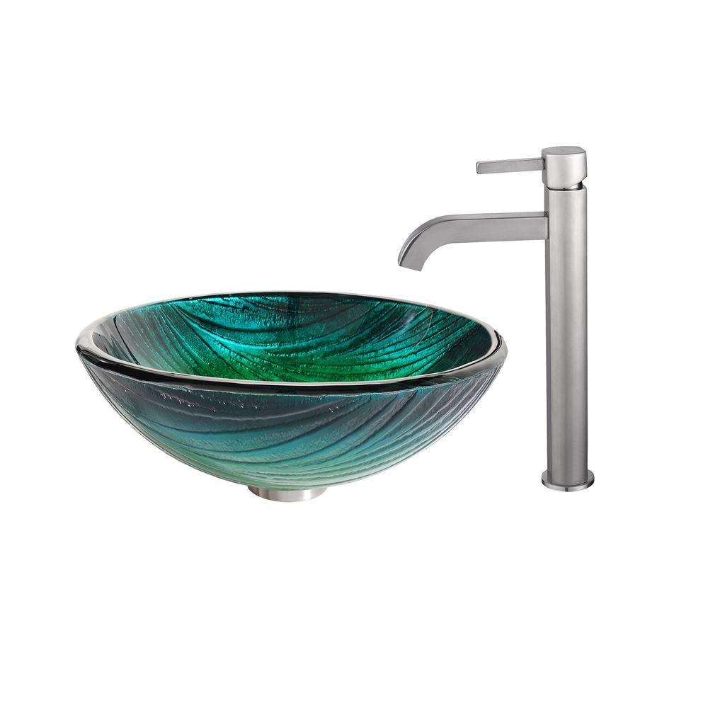 Nei Glass Vessel Sink in Green with Ramus Faucet in Satin