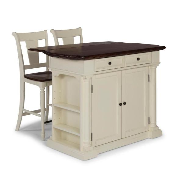 Beacon Hill White Solid Wood Top Kitchen Island with Two 24 in. Stools