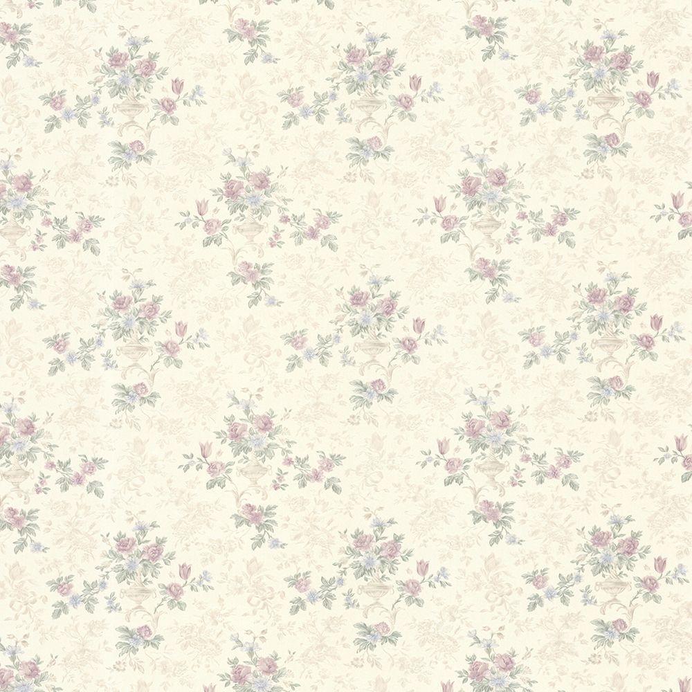 Kezea Lavender Petit Floral Urn Wallpaper Sample