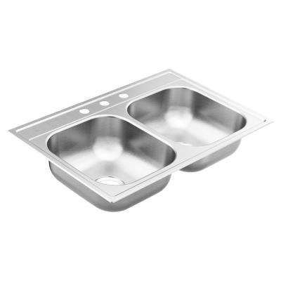 2200 Series Drop-In Stainless Steel 33 in. 3-Hole Double Bowl Kitchen Sink