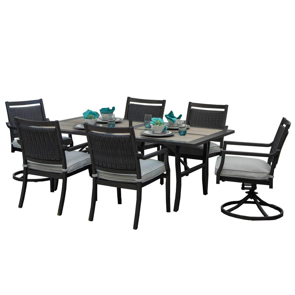 Outdoor/Indoor 13 Piece Aluminum Outdoor Dining Set With Sunbrella Beige  Cushions