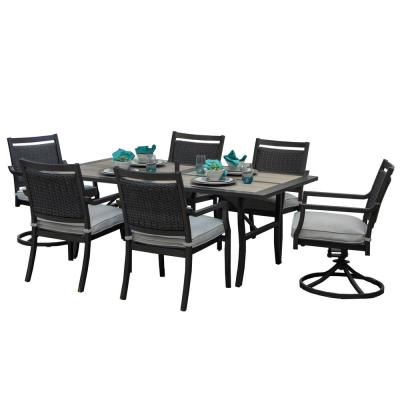 Outdoor/Indoor 13-Piece Aluminum Outdoor Dining Set with Sunbrella Beige Cushions