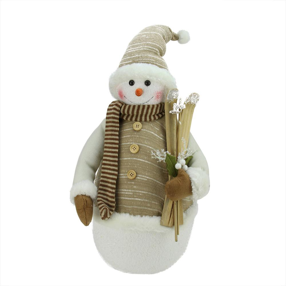 20 in. Alpine Chic Brown and Beige Snowman with Skiis and