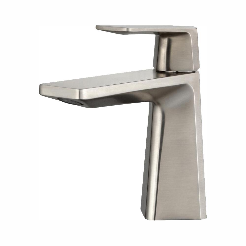 KRAUS Aplos Single Hole Single-Handle Mid-Arc Bathroom Faucet in Brushed Nickel