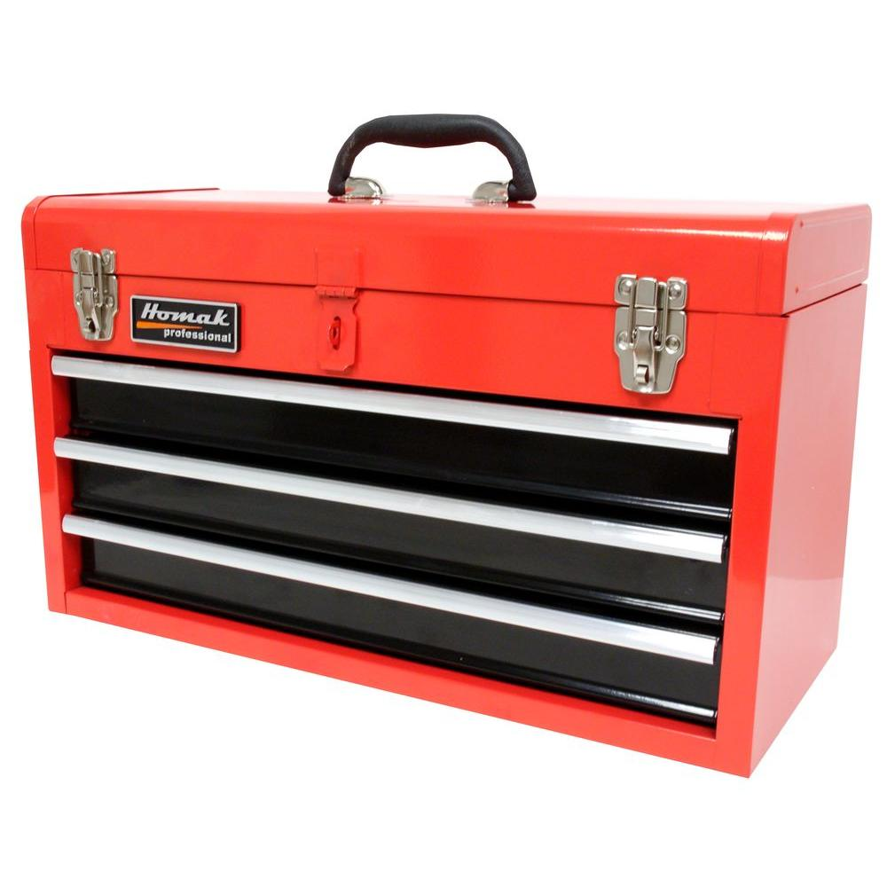 Homak 20 in 3Drawer Tool Box RedRD01032101 The Home Depot
