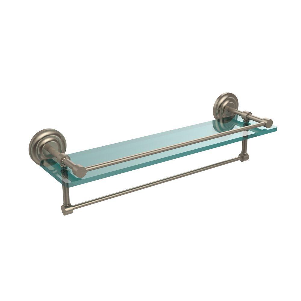 Allied Brass 22 in. L x 5 in. H x 5 in. W Clear Glass Bathroom Shelf ...