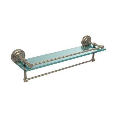 22 in. L  x 5 in. H  x 5 in. W Clear Glass Bathroom Shelf with Towel Bar in Antique Pewter