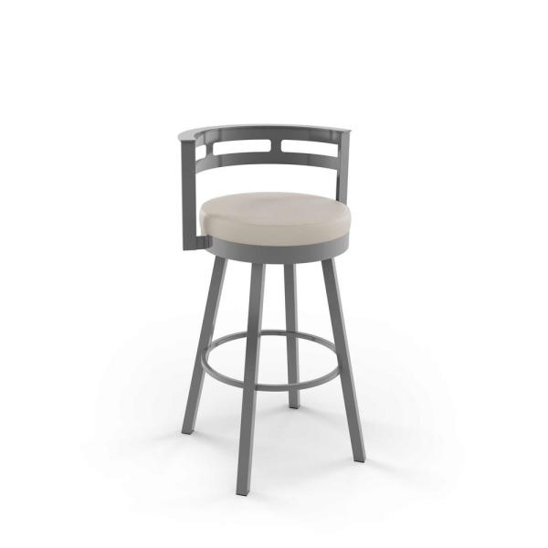 Render 26 in. Cream Faux Leather / Glossy Grey Metal Swivel Counter Stool