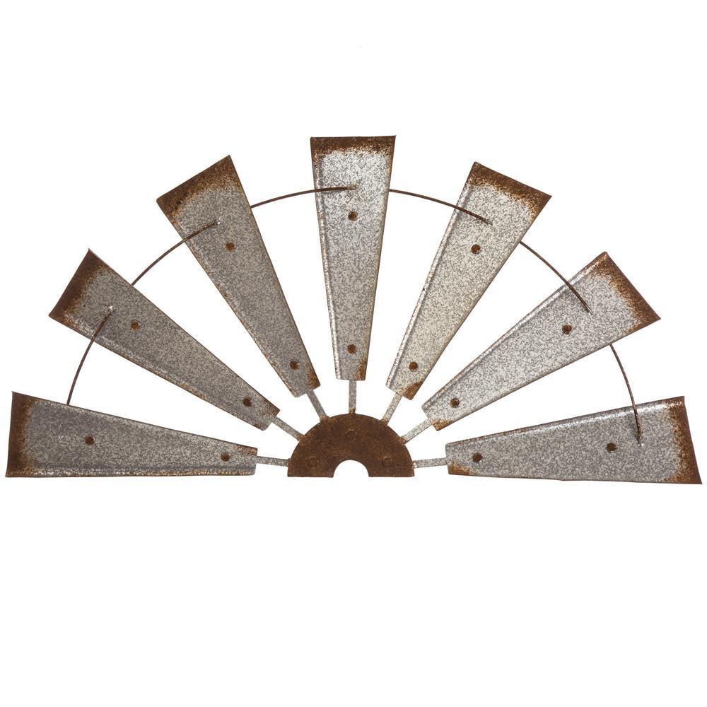glitzhome 32 in l galvanized farmhouse half wind spinner. Black Bedroom Furniture Sets. Home Design Ideas