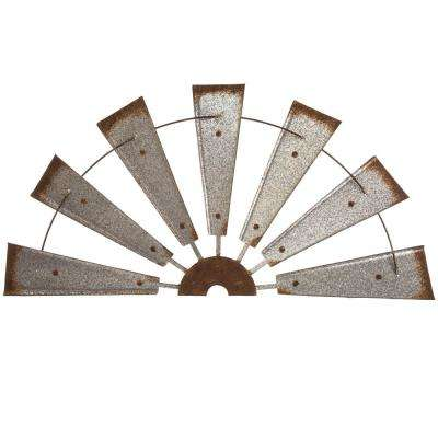 32 in. L Galvanized Farmhouse Half Wind Spinner Wall Decor