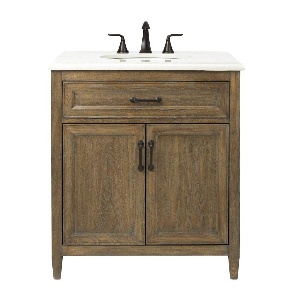 Home Decorators Collection Walden 31 In. W Vanity In Driftwood Grey With  Engineered Stone Vanity